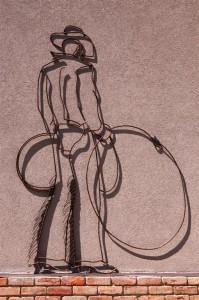 Metal Line Art Cowboy